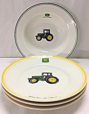 "1 John Deere By Gibson 9 3/8"" Wide Rim Serving Bowl & Three 8 7/8"" Dessert Plate"