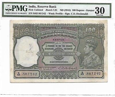 India, Reserve Bank - 100 Rupees, nd (1944). Kanpur (Pick Unlisted). PMG 30 RARE