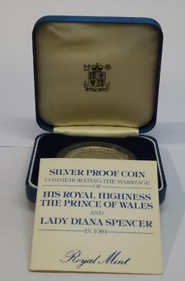 1981 Silver Proof Crown Wedding Of Charles And Diana - Orig Box & Certificate