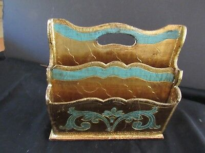 Vintage Italian Florentine Gilt Wood Tole Letter Holder Desk Mail Organizer