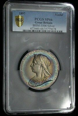 Finest Graded 1897 Great Britain PCGS SP66RB Colorful 55MM Silver Medal (gm680)