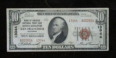 1929 Bank of America San Francisco California National Currency $10 Note (rb1917