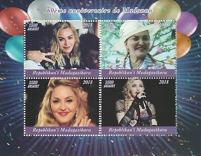 Madagascar 7715 - 2018  MADONNA's 60th BIRTHDAY  perf sheet of 4 unmounted mint