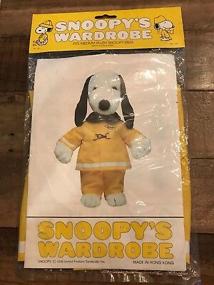 Snoopy's Wardrobe 1985 Doll Clothing Fits Medium Snoopy Doll Fireman Outfit