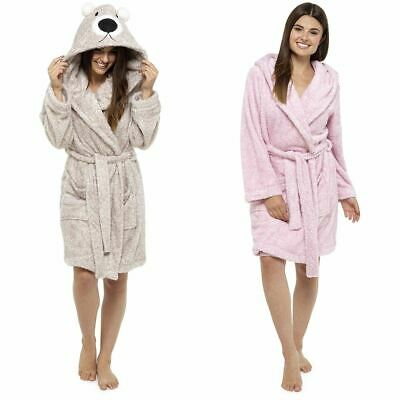 Womens Foxbury Soft Coral Fleece Hooded Animal Embroidered Dressing Gowns  Robe 2d9d5c3f6