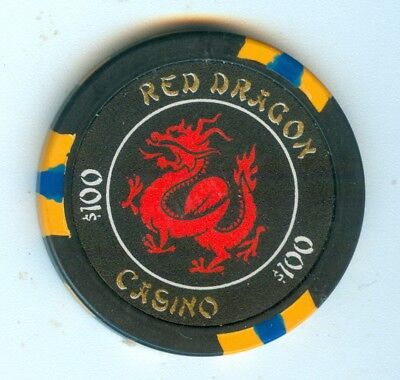 Obs 2000 Red Dragon Casino Las Vegas Nevada $100 Chip - Movie Prop Never Opened