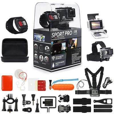 SportPro 4K UHD WiFi Touch Screen Action Camera with Wireless Wrist Remote...