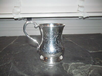 FINE ANTIQUE SOLID STERLING SILVER CUP / MUG VICTORIAN 1853 112g