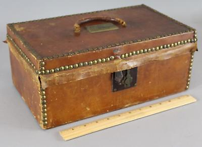Small Antique mid-19thC, Henry Barton Boston Label, Leather Trunk, NY