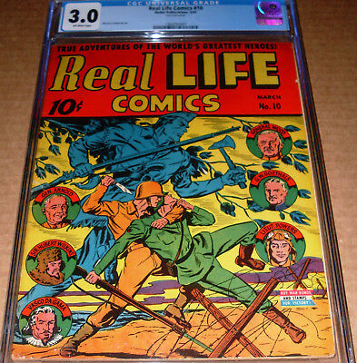 Real Life Comics #10 CGC 3.0 Nedor 1943 WWII Golden Age Wild War Cover OW pages