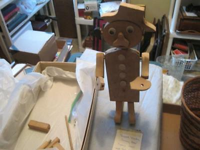 Antique Early 1900 s Wooden Folk Art Pegged Toy Funny Man 14 Inches Tall VGC