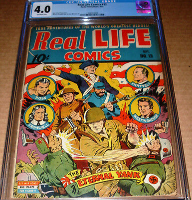 Real Life Comics #13 CGC 4.0 Nedor 1943 Alex Schomburg cover WWII OW pages