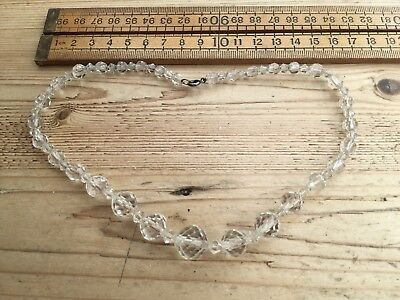 Pretty Vintage Necklace, Vintage Cut Crystal Bead Necklace With Silver Clasp