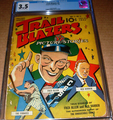 Trail Blazers #3 CGC 3.5 1942 Picture Stories Street Smith NY Yankees Fred Allen