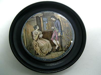 Staffordshire Prattware pottery Pot lid I Consent she replied 19thC