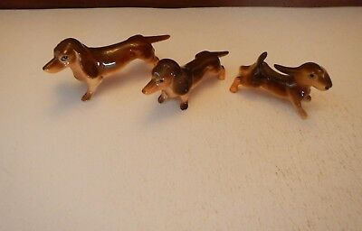 3 Vintage Bone China Dachshund Dog Figurines