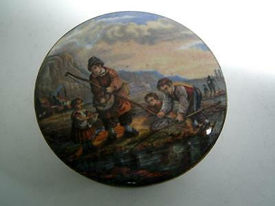 Victorian Staffordshire Prattware pottery Pot lid the Shrimpers & base 19thC