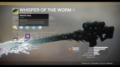 Destiny 2 Whisper of the Worm/Black Spindle Catalyst Bundle. PS4 Guaranteed