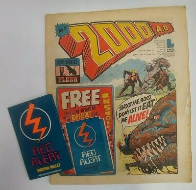 2000ad Prog 3 With Free Gift survival wallet 12/03/1977