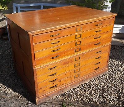 World War Two Air Ministry eight/8 drawer plan chest with brass handles