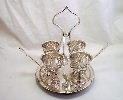 Silver Plated Egg Cruet 4 Egg Cup Stand 1900's
