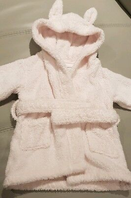 The Little White Company Baby Girl Dressing Gown 0/6 Months Pink Towelling