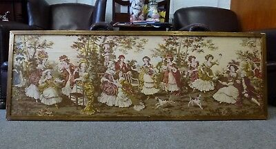 HUGE Framed French Tapestry years old Antique Vintage stitched embroidery 152cm