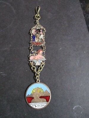 Vintage Egypt Egyptian Revival Pocket Watch Fob Chain, Gilt White Metal & Enamel