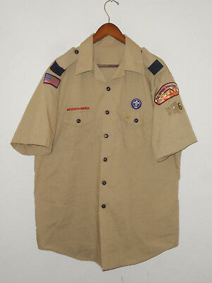 BOY SCOUTS Of America UNIFORM Shirt #6 w/ Patches Scout Adult Mens USA : XL