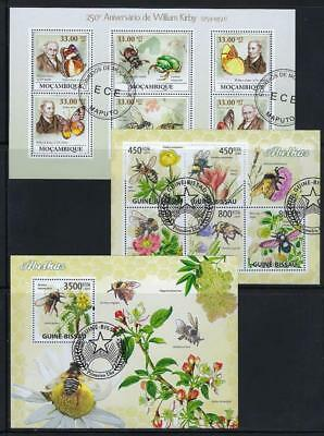 FS9564 3 Diff Souvenir Sheets of Insects Butterflies Beetles & Honey Bees