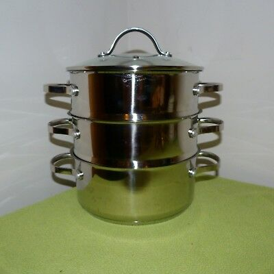 3 Tier Stainless steel Steamer kitchenware glass lid 18/8 2 litre