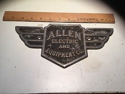 Vintage TRADE MARK ALLEN Automotive Electric & Equip.  Cast Aluminum Name Plate