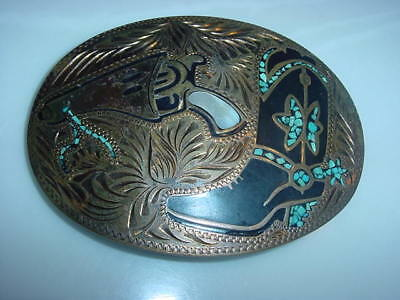 Large Wil Aren Western Belt Buckle TURQUOISE Inlay/ MOTHER OF PEARL  Hand Made