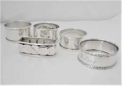 Lot Of 5 Miscellaneous Sterling Napkin Rings, 80 Grams