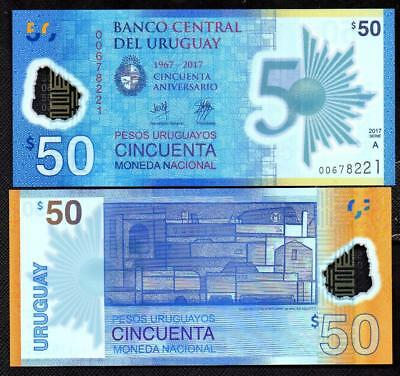 (2018) URUGUAY FIRST POLYMER NOTE - 50 PESOS - 50th Anniv Central Bank - UNC NEW