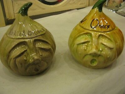 2 x Vintage Toni Raymond Pottery England Ceramic Crying Face Onion Jars #PO202
