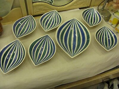 7 x Vintage Gouda Pottery Made In Holland Zebra Flora Dishes 1421 & 1422  #PO205