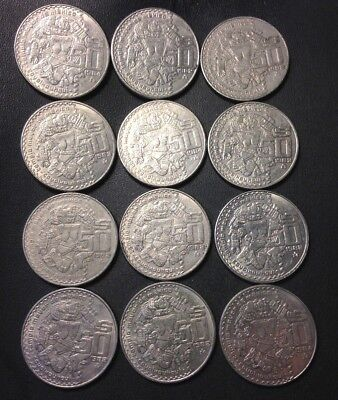 Old Mexico Coin Lot - 50 PESOS - 12 EXTRA LARGE CROWN COINS - Lot #916