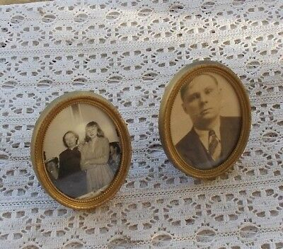"LOT SET 2 Vintage Antique 2.5"" Oval Picture Frames Metal Brass Mounts LOOK WOW"