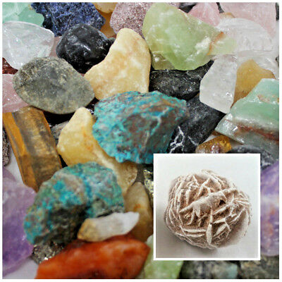 2000 CARAT Lot Natural Tumble Rough Raw Rock Crystals Gemstones + Selenite Rose!