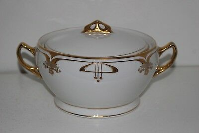 Vintage C.s. Prussia Porcelain Art Deco Biscuit/cracker Jar-Gold Trim