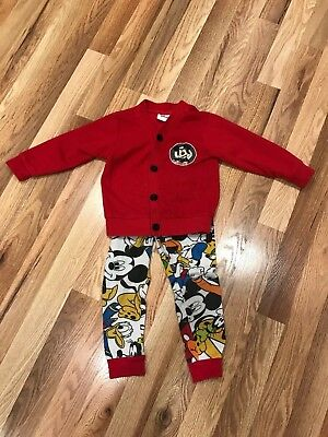 Disney 2-piece set Pants /Jacket  Red/Multi Colored MICKEY PLUTO DONALD -  3 mos