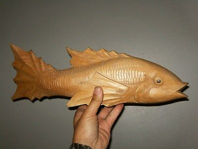 A Stunning Hand Carved  Wooden Fish