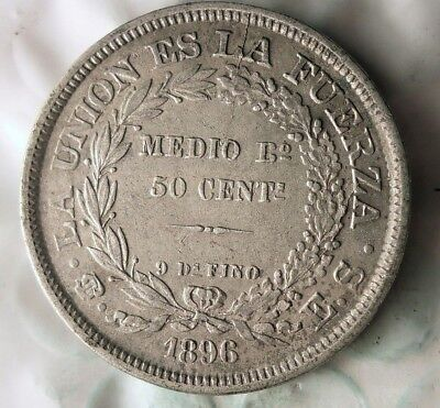 1896 BOLIVIA 50 CENTAVOS - Awesome Details - Rare Silver Crown Coin - Lot #916