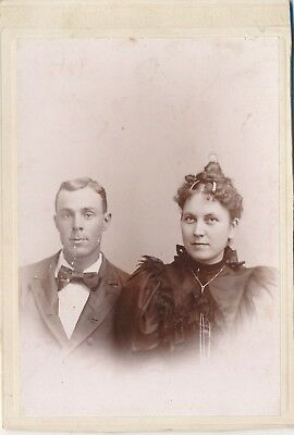 1880-1889 Sepia Couple, Woman has Unusual Object in her Hair, Cabinet Photo ID
