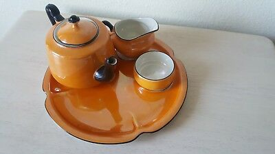Antique Vtg Union T Made Czechoslovakia Orange Tea Iridized Royal Crown Czech