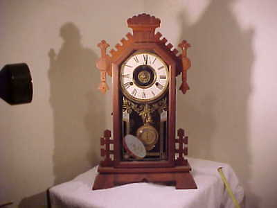 "Antique New Haven ""euphrates"" Kitchen Clock , 8 Day With Alarm ,working Fine"