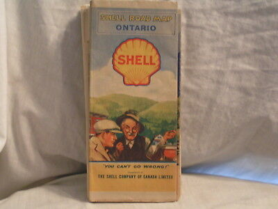 1930's Shell Oil Co Road Map For Ontario Canada.