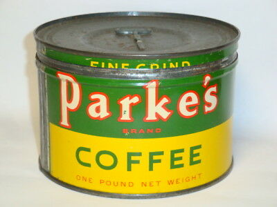 Nice Old Tin Litho Parke's Brand 1Lb. Keywind Advertising Coffee Tin Can