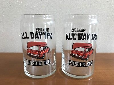 Founders All Day IPA Session Ale Set Of 2 Can Style Beer Glasses